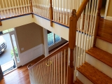 Red Oak Rail with White Spindles
