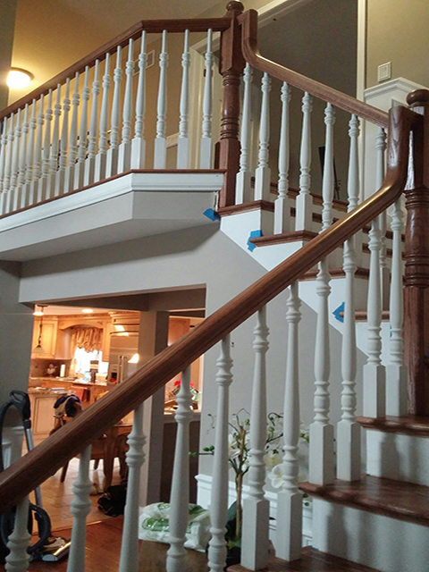 Oak Rail with Spindles